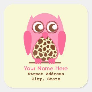Giraffe Print & Pink Owl Address Sticker
