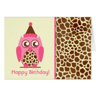 Giraffe Print & Pink Owl Birthday Card