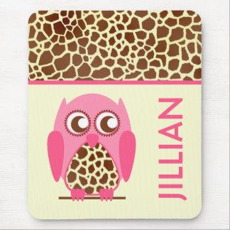 Giraffe Print & Pink Owl Personalised Mousepad