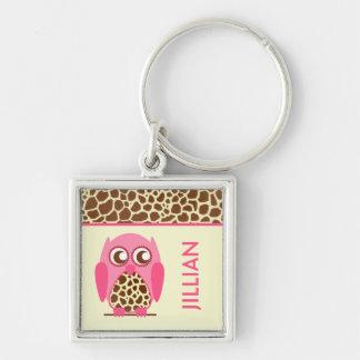Giraffe Print & Pink Owl Personalized Keychain