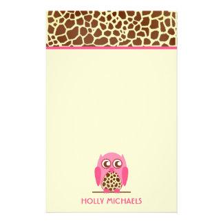 Giraffe Print & Pink Owl Stationery