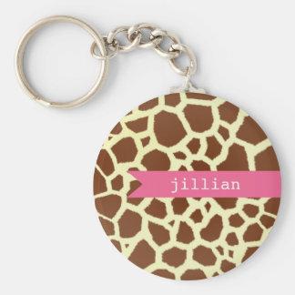 Giraffe Print & Pink Personalized Keychain