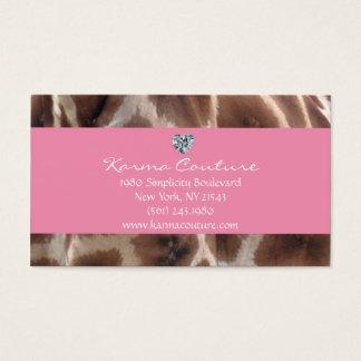 giraffe print pink w/ heart shaped diamond