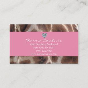 Diamond shaped business cards zazzle uk giraffe print pink w heart shaped diamond business card colourmoves