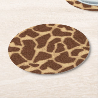 Giraffe Print Round Paper Coaster