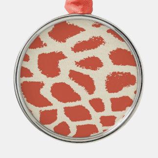 Giraffe Print Silver-Colored Round Decoration