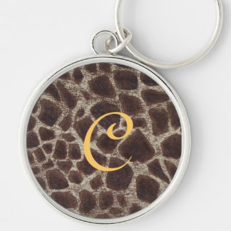 Giraffe Print Silver-Colored Round Key Ring