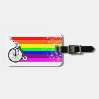 Giraffe Rainbow Bike Luggage Tag