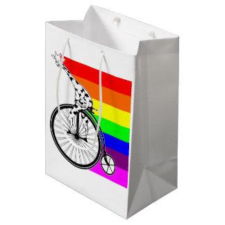 Giraffe Rainbow Bike Medium Gift Bag