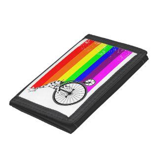 Giraffe Rainbow Bike Tri-fold Wallets