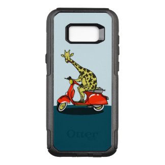 Giraffe riding a red moped OtterBox commuter samsung galaxy s8+ case