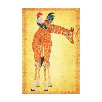 Giraffe & Rooster Canvas Canvas Print