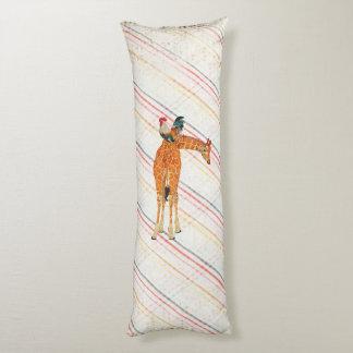 Giraffe & Rooster Plaid Body Pillow