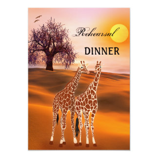 Giraffe Safari Zoo Rehearsal Dinner Invitation