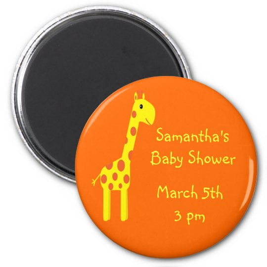 Giraffe Save The Date Baby Shower Orange & Yellow 6 Cm Round Magnet