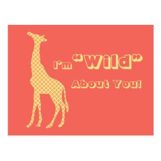 Giraffe School Kids Valentines Day Post Card