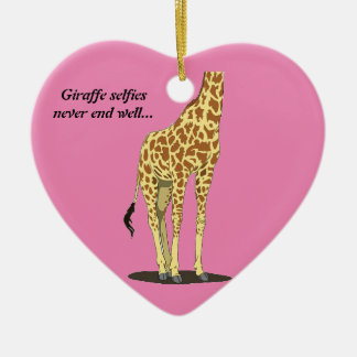 Giraffe selfies never end well... Double-Sided heart ceramic christmas ornament