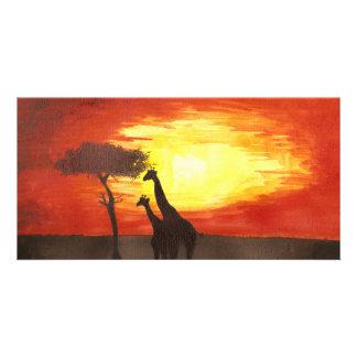 Giraffe Silhouette Custom Photo Card