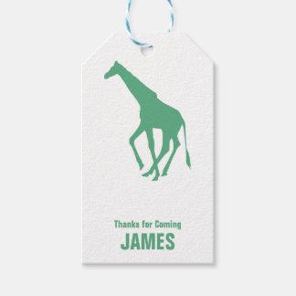 Giraffe Silhouette Safari Birthday Gift Tag