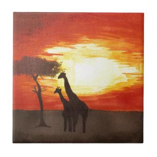 Giraffe Silhouette Tile