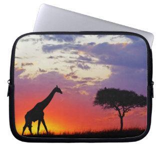 Giraffe silhouetted at sunrise, Giraffa Laptop Computer Sleeves