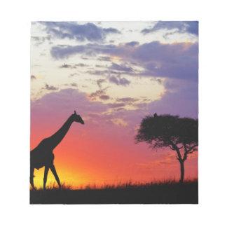 Giraffe silhouetted at sunrise, Giraffa Notepad