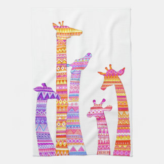Giraffe Silhouettes in Colorful Tribal Print Tea Towel
