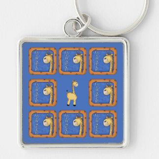 Giraffe Silver-Colored Square Key Ring