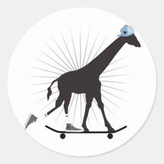 Giraffe skills classic round sticker