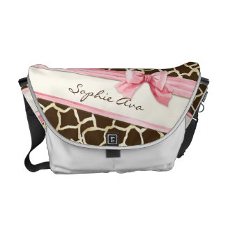 Giraffe Skin Pattern Ribbon n Bow Baby Girl Diaper Commuter Bags