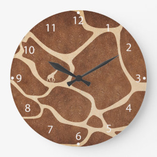 Giraffe Skin Pattern Surface Stains Lines Large Clock