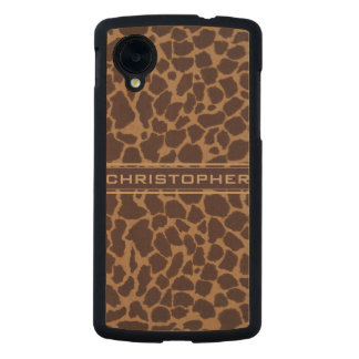 Giraffe Skin Print Pattern Personalize Carved® Maple Nexus 5 Case
