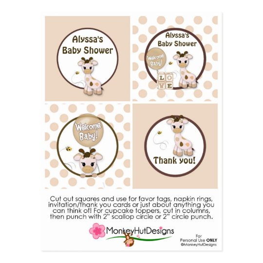 Giraffe Snickerdoodle Baby Shower Cupcake Toppers Postcard