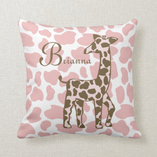 Giraffe Spots Pink and Brown Throw Pillow
