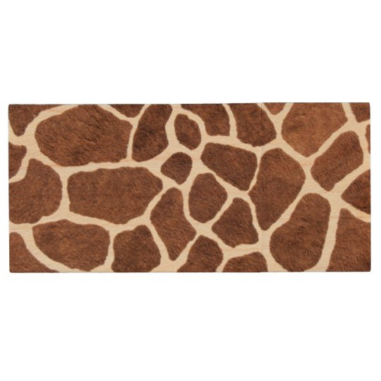 Giraffe spots wood USB flash drive