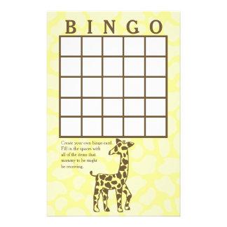 Giraffe Spots Yellow Bingo Card