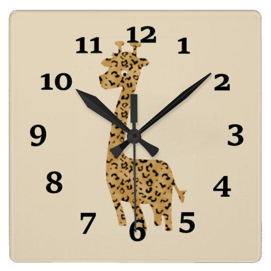 Giraffe Square Wall Clock