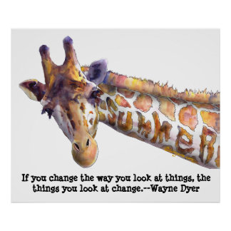 Giraffe Summer Quote Watercolor Poster Print