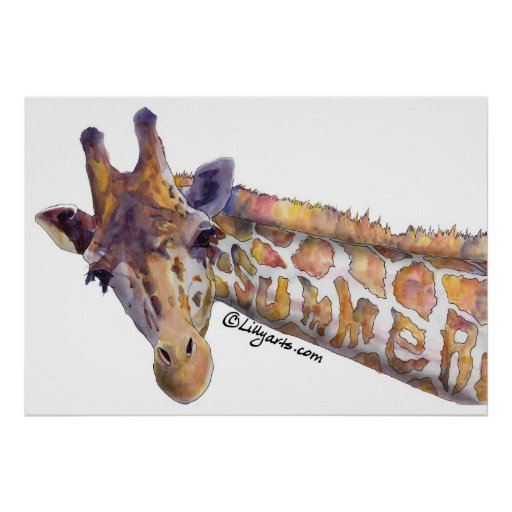 Giraffe Summer Watercolor Poster Print