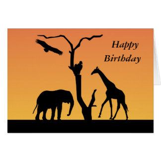 Giraffe sunset silhouette happy birthday card