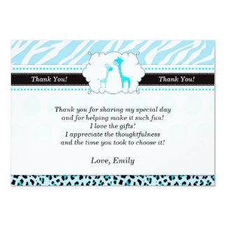 Giraffe Thank You Card Turquoise 13 Cm X 18 Cm Invitation Card