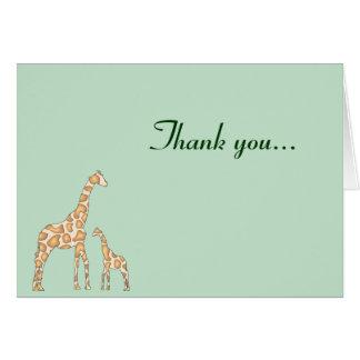 Giraffe Thank you - Green Greeting Card