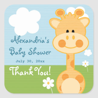 Giraffe Thank You Labels Square Sticker