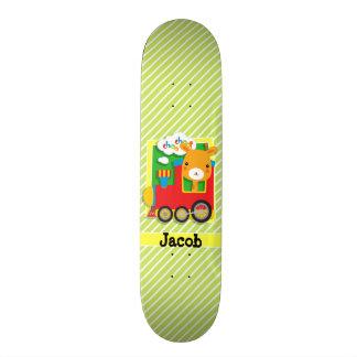 Giraffe Train; Lime Green & White Stripes Skate Board Deck