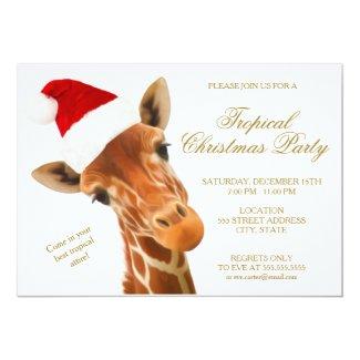 Giraffe Tropical Christmas Party | Invitation Card