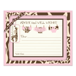 Giraffe Tutu Diapers Animal Print Advice Card 11.5 Cm X 14 Cm Flyer