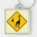 Giraffe Vaulting Silver-Colored Square Key Ring