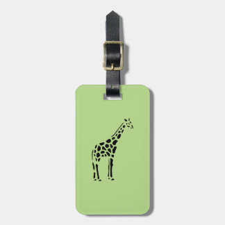 Giraffe Vintage Wood Engraving Bag Tag