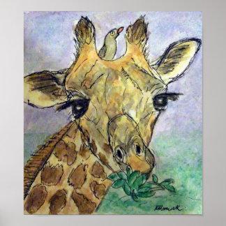 Giraffe watercolour poster Birthday Christmas