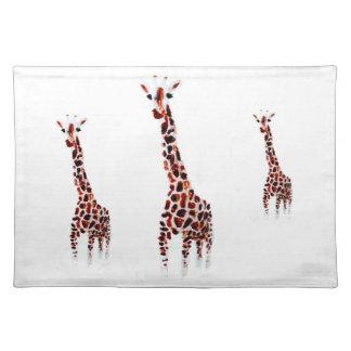 Giraffe Wildlife Art Place Mats